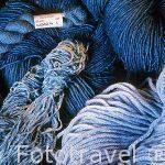 Diferentes productos teñidos con el azul de pastel. Bleu de pas