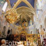 Interior de la iglesia ortodoxa y sus iconos. Pueblo de CARGESE.