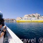 Vista de un ferry y del puerto de CALVI desde una embarcación t