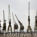 Antiguas gruas en el viejo puerto de AMBERES - ANTWERPEN. Belgica