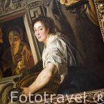 Sirvienta con cesta de frutas y dos enamorados. Museo Casa de Rubens. Ciudad de AMBERES - ANTWERPEN. Belgica