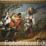 Granjeros dirigiendose al mercado. Por Jan Boeckhorst y Frans Snijders. Museo Casa de Rubens. Ciudad de AMBERES - ANTWERPEN. Belgica