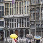 Plaza de Grotemarkt y en el centro la fuente con la escultura de Brabo con la mano del gigante. Ciudad de AMBERES - ANTWERPEN. Belgica
