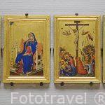 La Anunciacion, Cristo en la Cruz. Por Simone Martini. S.XIV. Museo de Bellas Artes. AMBERES - ANTWERPEN. Belgica