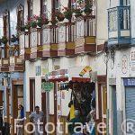 Calle con balcones de madera en la plaza del pueblo de SALENTO. Valle de Cocora