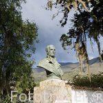 Busto del presidente Camilo Torres en el jardin del Congreso de las Federaciones Unidas, 1812. Villa de Leyva. Departamento de Boyaca. Colombia. Suramerica