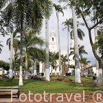Parque Garcia Rovira. Al fondo la iglesia de San Laureano. Ciudad de BUCARAMANGA. Departamento de Santander. Colombia. Suramerica