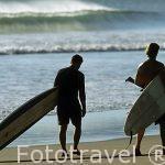Surfistas en playa Naranjo. Parque Nacional de Santa Rosa. GUANACASTE. Costa Rica.