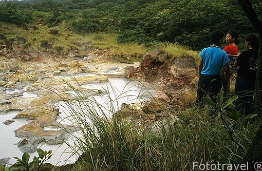 Observando las aguas termales del volcan Rincon de la Vieja. Sector de las Pailas. COSTA RICA. Centroamerica