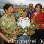 Visitantes de la feria nacional de orquideas con sus compras. COSTA RICA.
