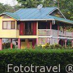 Casa colorida cerca de Puerto Viejo. Provincia de Limon. Costa Caribe. Costa Rica