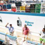 """Barco de """"Princess Duda"""". Barco de trabajo de Franck Goddio. Anclado en la bahia puerto Este ALEJANDRIA. Egipto"""