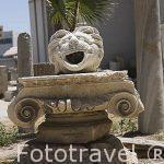 Detalle de la cabeza de un león tallada en la piedra, al parecer con función de gargola. Entrada a las catacumbas de Kom al-Shuqafa. Ciudad de ALEJANDRIA. Egipto