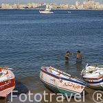 Playa en la bahia del puerto Este. Ciudad de ALEJANDRIA. Egipto