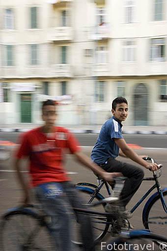 Chico en bicicleta en la calle 26 de Julio. Ciudad de ALEJANDRIA. Egipto