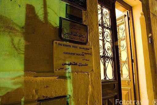 Entrada a la casa de Cavafis. Ciudad de ALEJANDRIA. Egipto