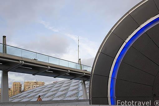 La moderna Biblioteca de la ciudad. Tiene previsto albergar más de 8.000.000 de libros. Terminada en el año 2000. Superficie de 36.770 mts cuadrados. A la derecha el Planetario. Ciudad de ALEJANDRIA. Egipto