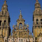 Fachada de la catedral desde la plaza del Obradoiro. Santiago de Compostela. Ciudad Patrimonio de UNESCO. A Coruña. España