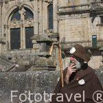 Jose Carlos Lama, conocido como Zapatones en la plaza del Obradoiro. Santiago de Compostela. Ciudad Patrimonio de UNESCO. A Coruña. España