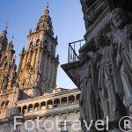 Portada del rectorado, antiguo hospital medieval Benedictino y la catedral. Santiago de Compostela. Ciudad Patrimonio de UNESCO. A Coruña. España