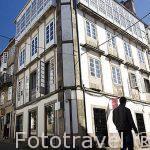 Calle Rua da Fonte de San Miguel. Santiago de Compostela. Ciudad Patrimonio de UNESCO. A Coruña. España
