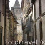 Calle Rua de Xelmirez y la catedral al fondo. Santiago de Compostela. Ciudad Patrimonio de UNESCO. A Coruña. España