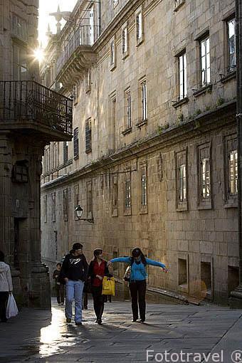 Rua de Fonseca. Santiago de Compostela. Ciudad Patrimonio de UNESCO. A Coruña. España