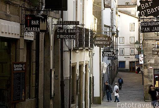 Rua da Raiña. Santiago de Compostela. Ciudad Patrimonio de UNESCO. A Coruña. España