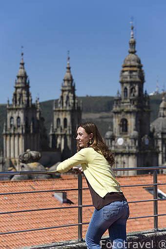 Vistas de la ciudad desde lo alto de la facultad de Geografia e Historia. Santiago de Compostela. Ciudad Patrimonio de UNESCO. A Coruña. España