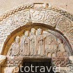 Timpano romanico. Iglesia de los Santos Justo y Pastor, s.XII-XIII. SEGOVIA. Ciudad Patrimonio de la UNESCO. Castilla y Leon. España