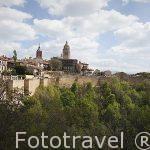 Murallas y catedral de Segovia con primer plano de árboles