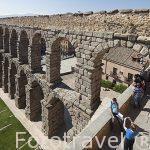 Acueducto romano de Segovia construido en el siglo s.I-II. Silla