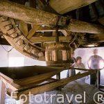 Interior de un molino. Maquinaria.Consuegra. TOLEDO. Castilla La Mancha.España. Spain