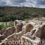 Baños arabes de Tenerias. Abajo el rio Tajo. Toledo. Ciudad Patrimonio de la Humanidad, UNESCO. Castilla La Mancha. España