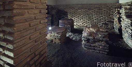Sala del Hipocausto, planta baja. Baños arabes del Angel. Ciudad de Toledo. Ciudad Patrimonio de la Humanidad, UNESCO. Castilla La Mancha. España