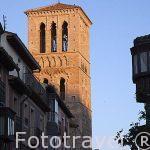 Torre mudejar de planta cuadrada con dos niveles. Iglesia de Santo Tome. Ciudad de Toledo. Ciudad Patrimonio de la Humanidad, UNESCO. Castilla La Mancha. España
