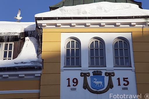 Fachada del cine y teatro Verdensteatret en la calle Storgata 93. Ciudad de Tromso. Noruega