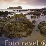 Playa y la poblacion de Vilafranca do Campo. Isla de SAO MIGUEL. Azores. Portugal
