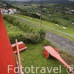 Molinos de estilo flamenco en Espalamaca. Cerca de la poblacion de Horta. Isla de FAIAL. Azores. Portugal
