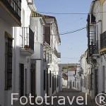 Calle y casas tipicas. FREGENAL DE LA SIERRA. Provincia. Badajoz. Extremadura. España - Spain