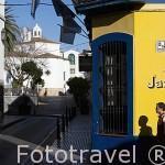 Fachada de un bar en la calle Trajano. Centro historico de la ciudad de MERIDA. Ciudad Patrimonio de la Unesco. Badajoz. Extremadura. España