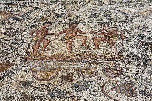 Detalle del mosaico de la Pisa de la uva en la Casa del Anfiteatro. MERIDA. Ciudad Patrimonio Unesco. Badajoz. Extremadura. España