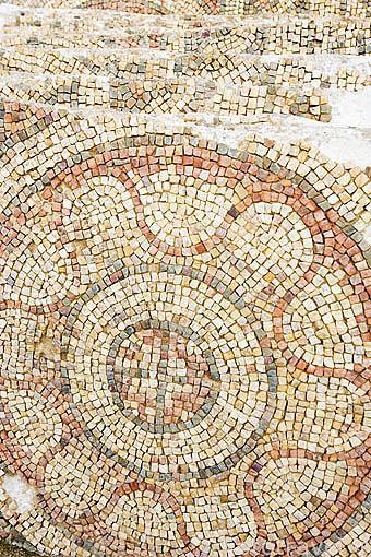 Detalle de un mosaico romano en el interior de la alcazaba. MERIDA. Ciudad Patrimonio de la Unesco. Badajoz. Extremadura. España