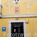 Fachada del hostal El Alfarero. En calle Sagasta 40. MERIDA. Ciudad Patrimonio de la Unesco. Badajoz. Extremadura. España
