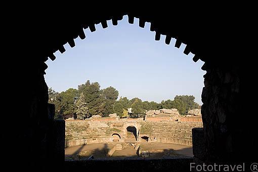 El Anfiteatro romano. MERIDA. Ciudad Patrimonio Unesco. Badajoz. Extremadura. España