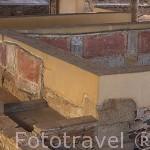 Restos de pinturas en los muros. Casa del Mitreo. MERIDA. Ciudad Patrimonio Unesco. Badajoz. Extremadura. España