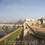 Puente romano sobre el río Guadiana visto desde la alcazaba arabe. MERIDA. Ciudad Patrimonio de la Unesco. Badajoz. Extremadura. España