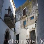 Calle junto a la capilla de San Ciriaco por donde se dice entraron los Cristianos a la ciudad en 1235. Parte alta del casco historico patrimonio de la UNESCO de IBIZA. Islas Baleares. España