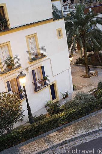 Plazuela de los Desamparados (placa dels Desemparats). Ciudad patrimonio de la UNESCO de IBIZA. Islas Baleares. Mar Mediterraneo. España