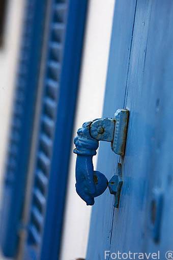 Pomo de una puerta. En el barrio de Dalt Vila. Ciudad de IBIZA, patrimonio de la Humanidad, UNESCO. Mar Mediterraneo. Islas Baleares. España